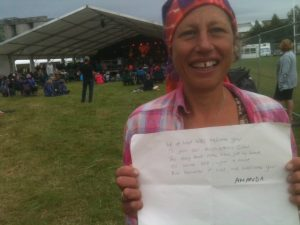 Amanda #wordsofwelcome @regmeuross at Village Pump Folk Fest