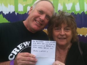 Andy & Cathy #wordsofwelcome @regmeuross at Village Pump Folk Fest