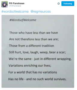 Fifi Fanshawe #wordsofwelcome @regmeuross #1000wordsofwelcome
