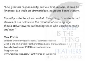Max Porter #WordsOfWelcome @regmeuross #1000wordsofwelcome