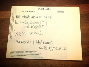 #WordsOfWelcome postcard