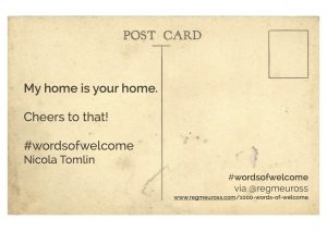 #WordsOfWelcome postcard Nicola Tomlin