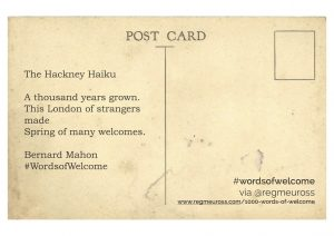 #WordsOfWelcome postcards Bernie Mahon